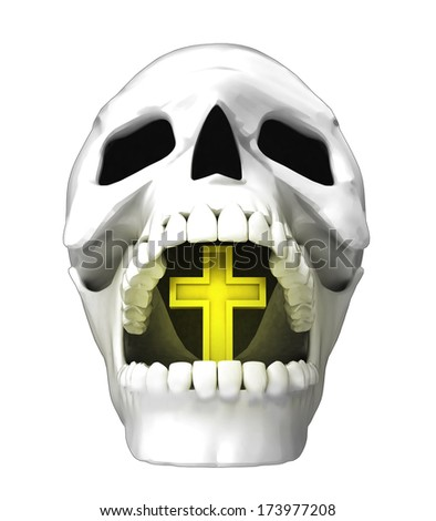isolated human skull head with golden cross in jaws illustration - stock photo