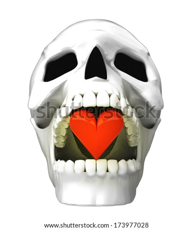 isolated human skull head with red heart in jaws illustration