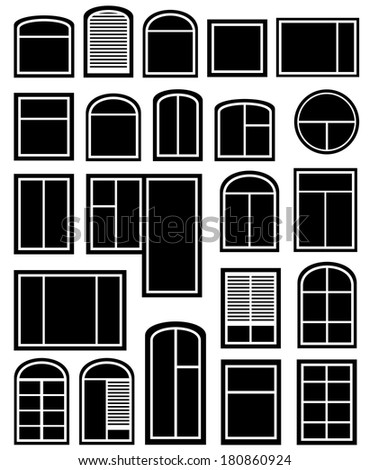 isolated icon set with black window silhouette - stock photo