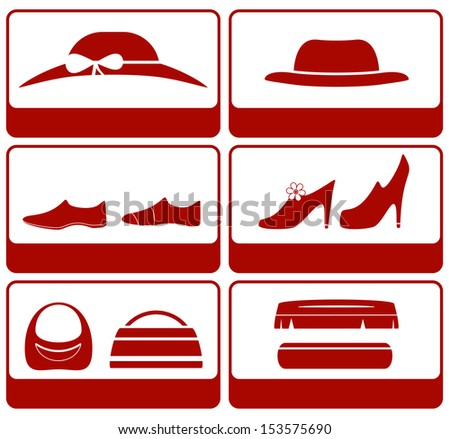isolated icons with clothes and accessories silhouette  - stock photo