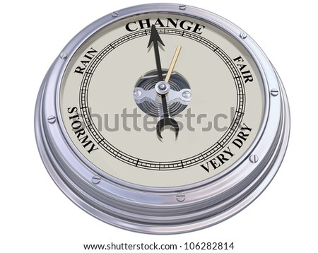 Isolated illustration of a barometer indicating changing conditions - stock photo