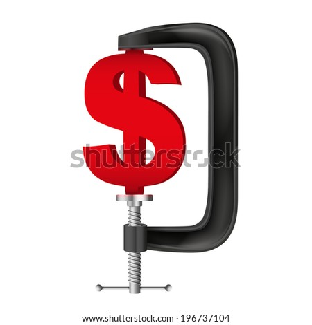 Isolated illustration of a currency symbol dollar being squeezed in a vice. - stock photo