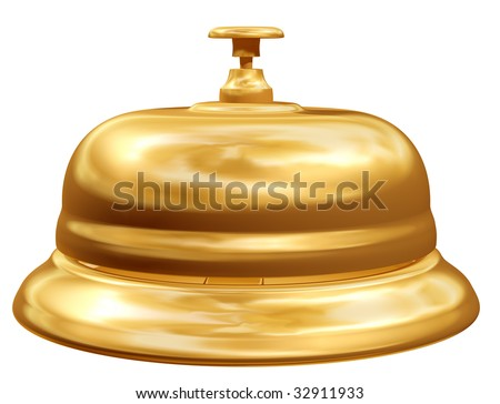 Isolated illustration of a golden reception bell