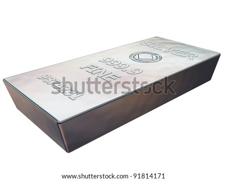 Isolated illustration of a pure silver ingot