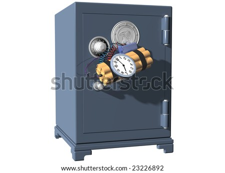 Isolated illustration of a safe being broken into using a time bomb
