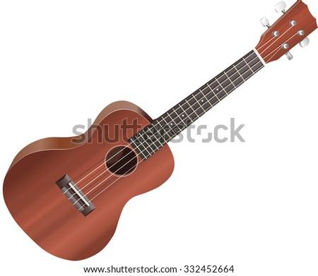 Isolated illustration of a ukulele on white background. - stock photo