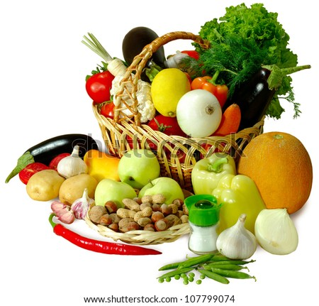 Isolated image of a basket of fruit and vegetables on a white background - stock photo