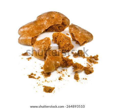 Isolated image of a broken cookies closeup - stock photo