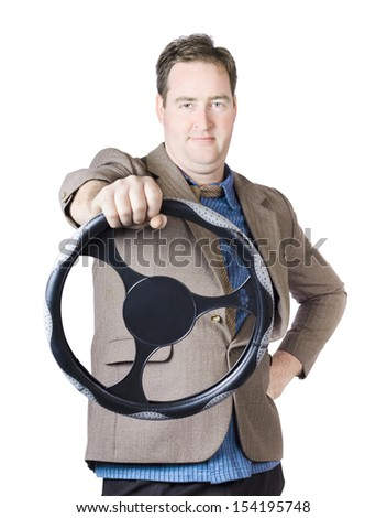 Isolated image of a confident man driving car when holding steering wheel on white background - stock photo