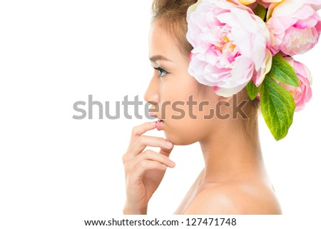 Isolated image of a cute beauty in profile, copy-space provided - stock photo