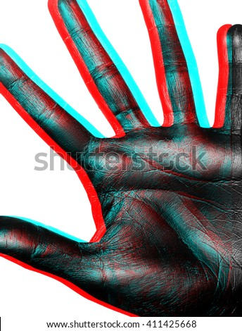 Isolated image of a fragment of a palm with fingers spread painted in shiny black paint on a white background in three-dimensional space - stock photo