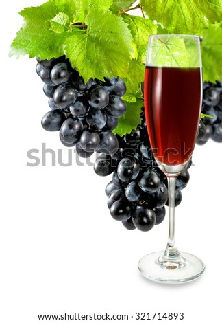 Isolated image of a glass of wine and grapes close-up