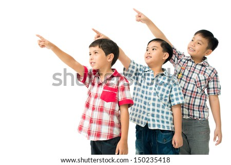 Isolated image of a group of children pointing at something interesting - stock photo
