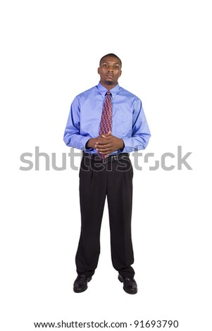 Isolated Image of a Handsome Black Businessman - White Background - stock photo