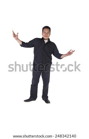 Isolated Image of a Handsome Hispanic Man - White Background - stock photo