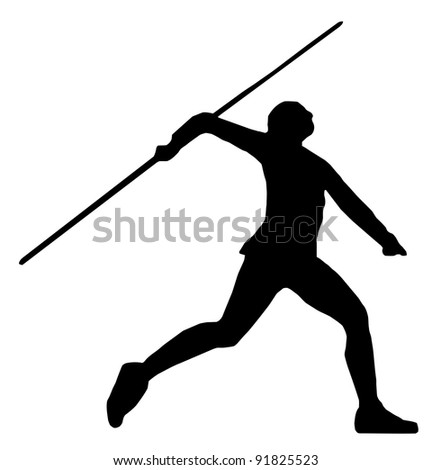 Isolated Image of a Male or Female Javelin Thrower