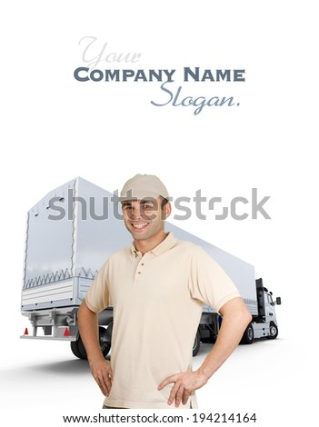 Isolated image of a man in front of a trailer truck  - stock photo