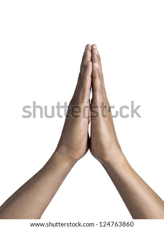 Isolated image of a man's praying hands over a white background - stock photo