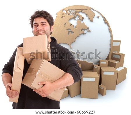 Isolated image of a messenger carrying parcels with a world map and packages as a background - stock photo