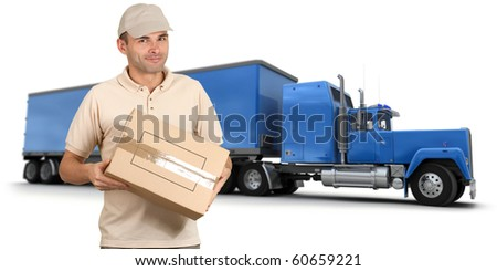 Isolated image of a messenger delivering a box with a trailer truck in the background - stock photo