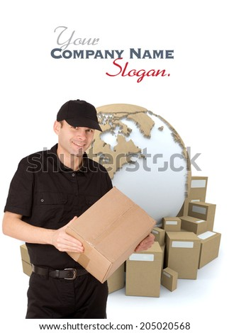 Isolated image of a messenger delivering a parcel with a world map and packages as a background  - stock photo