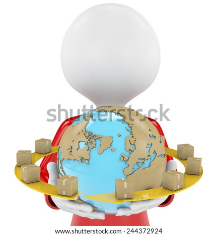 Isolated image of a messenger delivering a parcel with a world map and packages, 3d image - stock photo