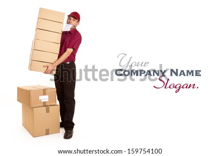 Isolated image of a messenger in red delivering a lot of boxes with a block and pen in his mouth  - stock photo