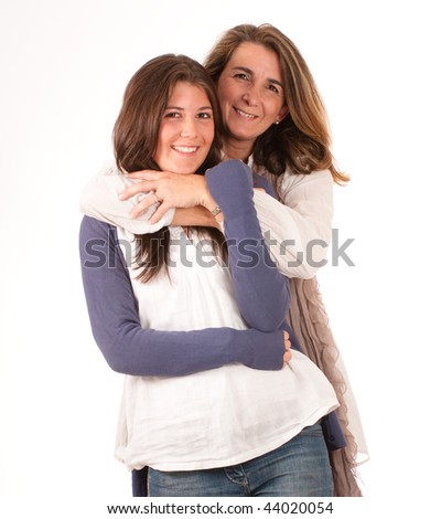 Isolated image of a mother and a daughter in a happy embrace