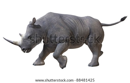 Isolated image of a rhinoceros running on a white background