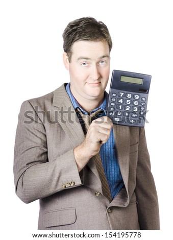 Isolated image of a tax return accountant man holding calculator in a tax time conceptual over white background