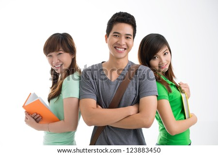 Isolated image of a teen team of three friends staying shoulder to shoulder