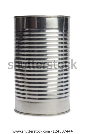 Isolated image of an aluminum can over a white background - stock photo