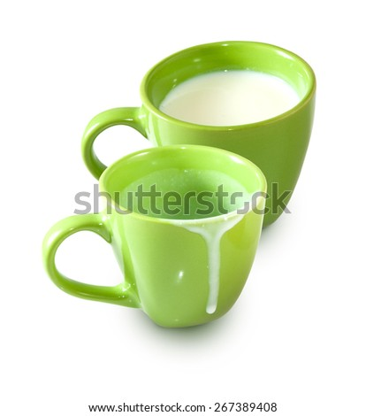Isolated image of an empty cup and a cup of milk - stock photo