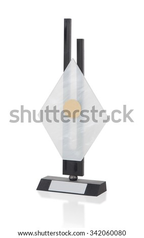 Isolated image of an od trophy made from glass, on white - stock photo