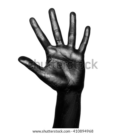 Isolated image of an open hand, palm up, fingers spread, painted in shiny black color on a white background - stock photo