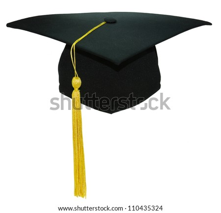 Isolated image of black square academic cap on white background - stock photo