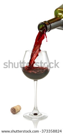 Isolated image of bottle and glass with wine closeup