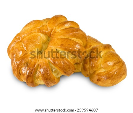 Isolated image of buns on a white background closeup
