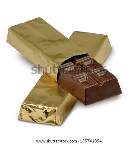 isolated image of chocolate bars on a white background - stock photo