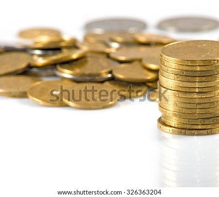 Isolated image of coins on a white background closeup