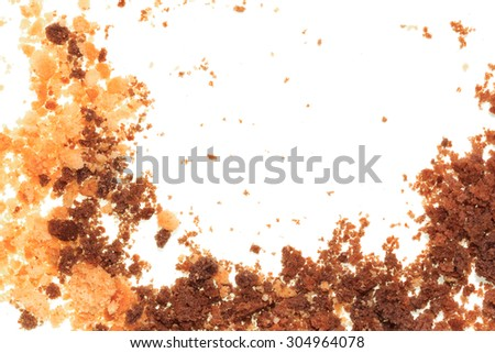 Isolated image of crumbled cookies on a white background - stock photo
