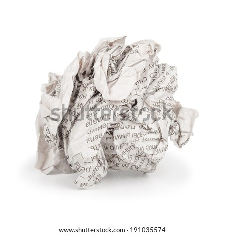 Isolated image of crumpled paper on white background