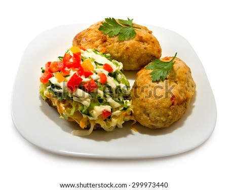 Isolated image of cutlet on a white background