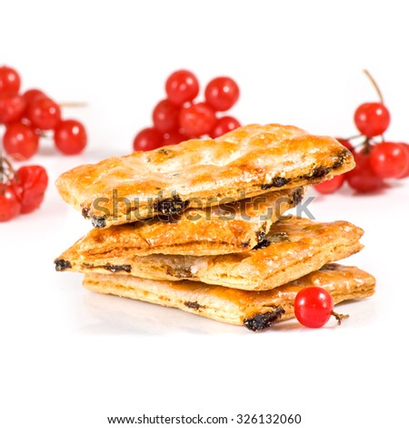 Isolated image of delicious cookies and berries close-up - stock photo