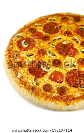 Isolated image of freshly baked pizza salami with white background - stock photo