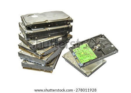 Isolated image of hard disk drive on white back ground - stock photo