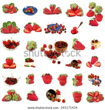 Isolated image of many delicious ripe strawberries - stock photo