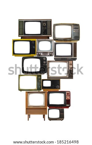 isolated image of many old vintage televisions pile up - stock photo