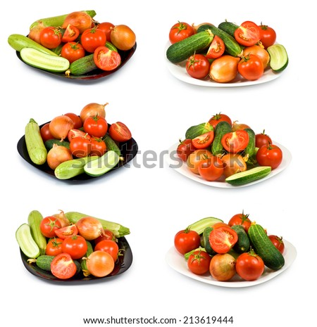 isolated image of many plates with vegetables