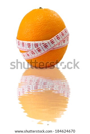Isolated image of  orange with measuring tape on white background measuring tape  - stock photo